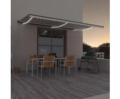Tenda da Sole Retrattile Manuale con LED 600x350 cm Crema - crema - Vidaxl
