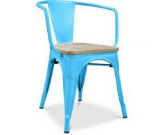 Sedia con braccioli stile Tolix - Metallo e legno chiaro Turchese