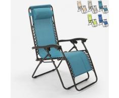 Sedia sdraio spiaggia giardino pieghevole multiposizione Emily Zero Gravity | Azzurro