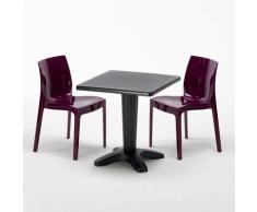 Tavolino Quadrato Nero 70x70 cm con 2 Sedie Colorate ICE AIA | Viola