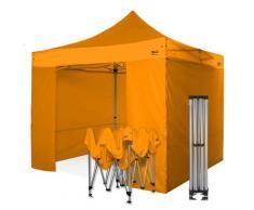 Gazebo rapido 3x3 arancione in alluminio rinforzato con laterali PVC 350g metro. Gazebo pieghevole