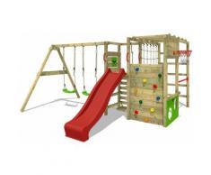FATMOOSE Parco giochi in legno ActionArena Giochi da giardino con altalena e scivolo rosso Scala