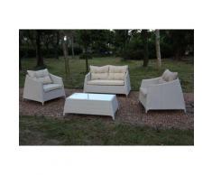SET Salotto IBIZA SOFA 2 Posti Bianco Strutture in alluminio polyrattan