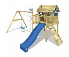 WICKEY Parco giochi in legno Smart Travel Giochi da giardino con altalena e scivolo blu Casa su