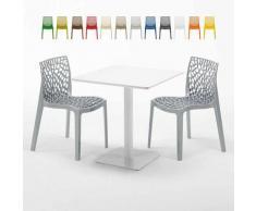 Tavolino Quadrato Bianco 70x70 cm con 2 Sedie Colorate GRUVYER MERINGUE | Grigio