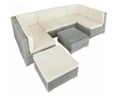 Salottino in rattan Venezia - arredo giardino, mobili da giardino, divani da esterno - grigio chiaro