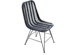 Sedia in Rattan Naturale Sala da Pranzo Chillvert Parma 46x60x92 cm Negra