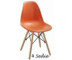 Set 4 Sedie Arancioni Polipropilene Salotto Moderna Sala da Pranzo Cucina Legno