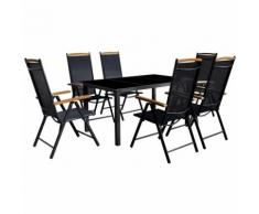 Set da Pranzo da Giardino 7 pz Sedie Pieghevoli Alluminio Nero