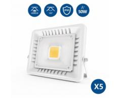 Anten - 5Pz 50W Faro LED Esterni, Ultraslim Faretto a LED Esterno, IP65 Impermeabile Lampada LED,