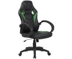 Sedia da ufficio sportiva Magnus in similpelle Nero/verde