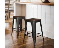 Sgabello alto,seggiolone con seduta,un set di 2 pcs,nero,76,5 * 42,5 * 42,5 cm