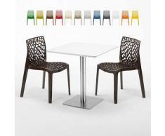 Tavolino Quadrato Bianco 70x70 cm con Base in Acciaio e 2 Sedie Colorate ICE STRAWBERRY | Marrone