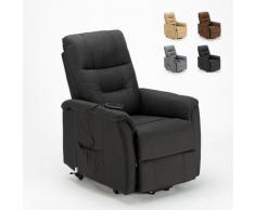 Poltrona relax elettrica reclinabile con alzapersona e ruote in Tessuto Marie per anziani | Colore: