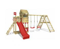 WICKEY Parco giochi in legno Smart Port Giochi da giardino con altalena e scivolo rosso Torre