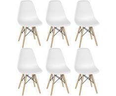Skecten - Set di 6 sedie da pranzo Sedia da cucina con gambe in legno bianche