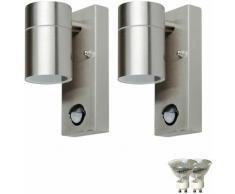 Set di 2 sensore di movimento della parete faretto a LED Downspot facciate esterne Lampade da