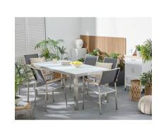 Set tavolo e sedie da giardino - In vetro temperato bianco e fibra tessile grigia - tavolo 180 con