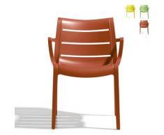 Sedia design moderno cucina bar giardino con braccioli Scab Sunset | Marrone