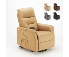 Le Roi Du Relax - Poltrona relax elettrica reclinabile con alzapersona e ruote in Tessuto Marie per