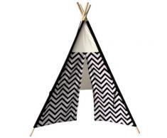 Rebecca Mobili Tenda Indiano Da Gioco Nero Bianco Cotone Legno 145x120x120