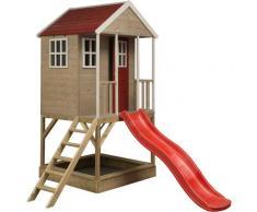 Casetta da giardino bambini sulla piattaforma con scivolo Avventura Nordica - Rosso
