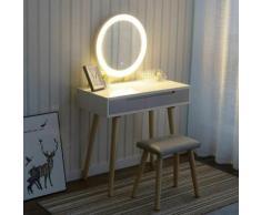 Tavolo da trucco mobili toeletta con specchio tavolo da toilette e sgabello in legno rotondo