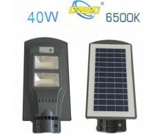 Faro lampione 80 led stradale giardino fotovoltaico pannello solare 40w 6500k