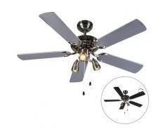 QAZQA Ventilatori da soffitto mistral - Moderno - Legno,Acciaio - Nero/Grigio - Tondo Max. 3 x Watt