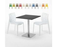 Tavolino Quadrato Nero 70x70 cm con 2 Sedie Colorate Gruvyer Rum Raisin   Bianco