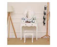 Comodino elegante e semplice per tavolo da trucco con specchio e sgabello a forma di cuore