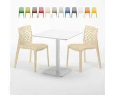 Tavolino Quadrato Bianco 70x70 cm con 2 Sedie Colorate GRUVYER MERINGUE | Beige