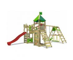 FATMOOSE Parco giochi in legno RiverRun Giochi da giardino con altalena SurfSwing e scivolo rosso