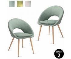 Pack di 2 sedie da pranzo con braccioli, salotto, ufficio o cucina, stile elegante, verde pistacchio