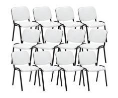Set 12 Sedie Ufficio Visitatore Ken Imbottite In Similpelle Bianco