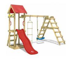 WICKEY Parco giochi in legno TinyLoft Giochi da giardino con altalena e scivolo rosso Torre