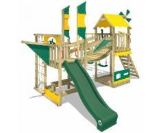 WICKEY Parco giochi in legno Smart Cruiser Giochi da giardino con altalena e scivolo verde Casetta