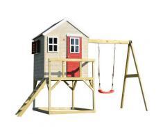 Casetta da giardino bambini piattaforma 90 cm con singole altalene Estate Lodge -Rosso