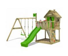 FATMOOSE Parco giochi in legno DonkeyDome Giochi da giardino con altalena e scivolo mela verde