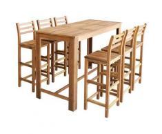 Tavolo e Sedie da Bar Set 7 pz in Legno di Acacia Massello
