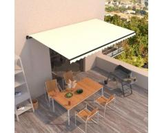 vidaXL Tenda da Sole Retrattile Manuale 500x300 cm Crema - crema