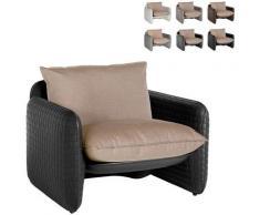 Poltrona lounge design moderno Mara trama cuoio interno esterno | Colore: Nero - Slide