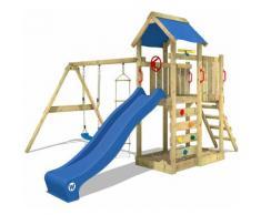 WICKEY Parco giochi in legno MultiFlyer Giochi da giardino con altalena e scivolo blu Torre