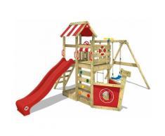 WICKEY Parco giochi in legno SeaFlyer Giochi da giardino con altalena e scivolo rosso Casetta da