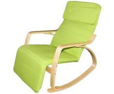 Poltrona Relax Sedia a Dondolo con Poggiapiedi Mod. Zen Verde