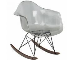 Sedia a Dondolo Brich Scand Trasparente Grigio Sfumato Lucido Policarbonato – Metallo - Sklum