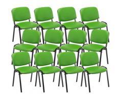 Set 12 Sedie Ufficio Visitatore Ken Imbottite In Similpelle Verde