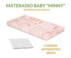 EVERGREENWEB - Materasso Lettino o Culla 64x124 per Bambini alto 12 cm + Cuscino ANTISOFFOCO su