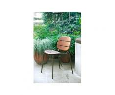 Sedia in metallo con schienale e seduta in legno massello, anche per esterno, Grigio tortora,