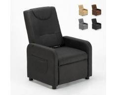 Poltrona Relax Reclinabile con Poggiapiedi in Tessuto ANNA Design | Colore: Nero